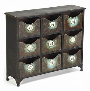 Reclaimed, Industrial, Iron, 9, Drawer, Storage, Cabinet
