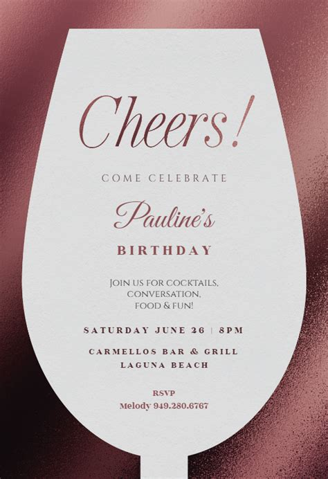 wine glass birthday invitation template