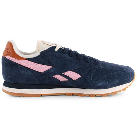 Reebok Classic Leather Damen Wildleder Navy Pink Sneakers