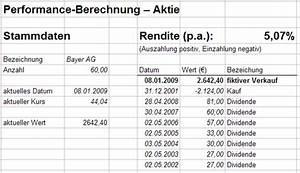 Internen Zinsfuß Berechnen : performance berechnung allgemeines b rsenwissen wertpapier forum ~ Themetempest.com Abrechnung
