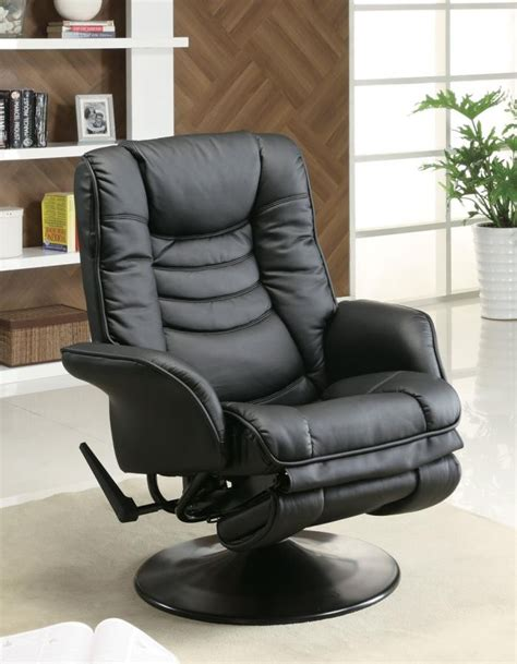 Leather Swivel Recliners by Living Room Recliners Casual Black Faux Leather Swivel