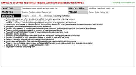 accounting technician resume sle