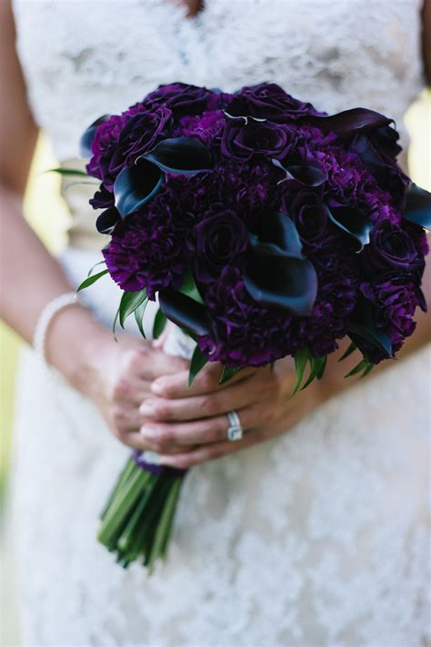 Tiffanys Bridal Bouquet Featured Eggplant Calla Lilies