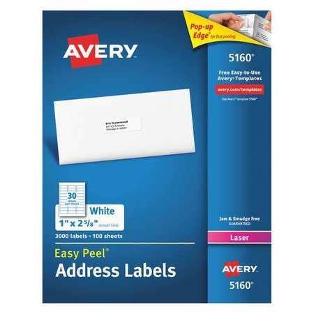 avery 5160 avery 174 easy peel 174 address labels permanent adhesive 1 quot 2 5 8 quot 72782051600 ebay