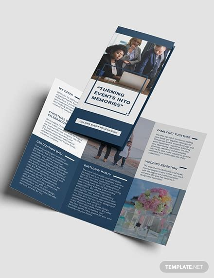 event planning business tri fold brochure template
