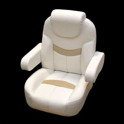 used pontoon captains chair godfrey hurricane white beige reclining boat captains seat