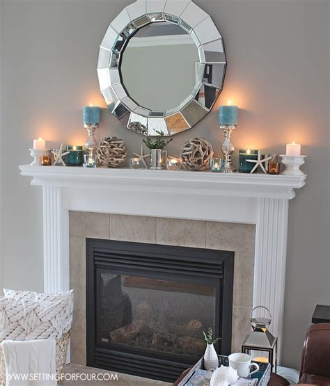fireplace mantle mantel decor ideas blue taupe and white palette