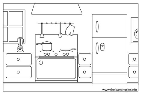 dessins de cuisine cuisine 4 bâtiments et architecture coloriages à imprimer
