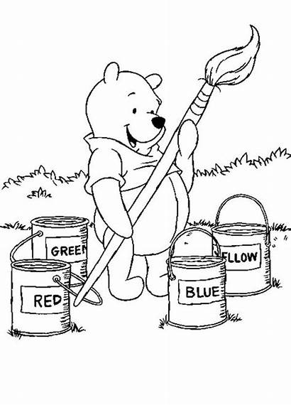 Coloring Pooh Paint Winnie Pages Brush Bucket