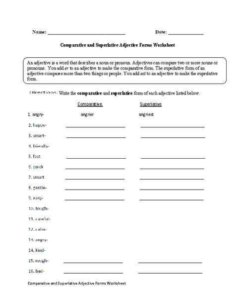adjectives worksheets comparative and superlative adjectives worksheets
