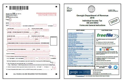 ga state tax form tax forms 2018 printable state ga 500 and ga 500ez form with