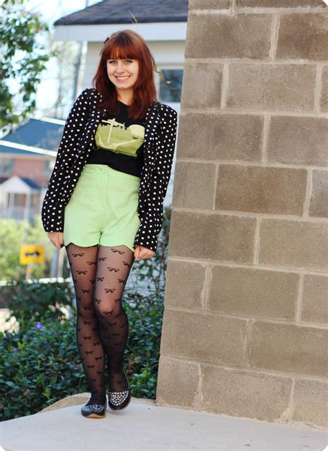 green scalloped shorts polka dot blazer bow tights