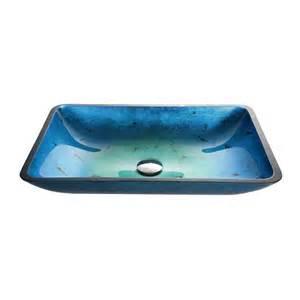 Kraus Vessel Sinks Home Depot by Kraus Irruption Blue Rectangular Glass Vessel Sink The