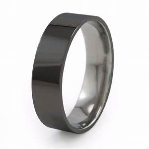 Stealth Modern Black Titanium Wedding Band Titanium Rings