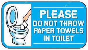 Si prega di non gettare carta assorbente nel segno di WC Vettoriali Stock © Tribaliumivanka