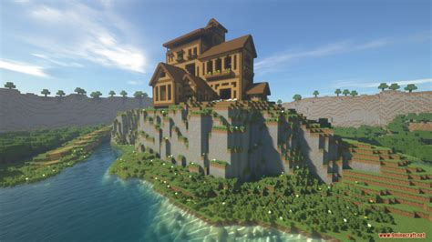cliffside wooden mansion map   minecraft minecraftnet