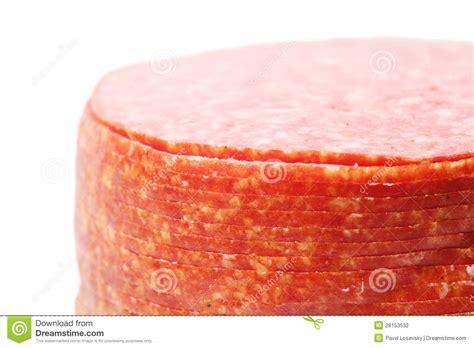 Close Up Of Pink Appetizing Salami Sausage Pieces Stock Photography   Image: 28153532