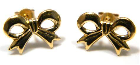 ribbon bow stud earrings  ct yellow gold ebay