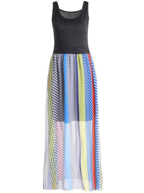 sleeveless striped bohemian dress