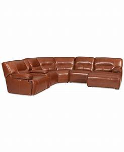 Beckett leather 6 piece chaise sectional sofa with 1 power for Macy s reclining sectional sofa