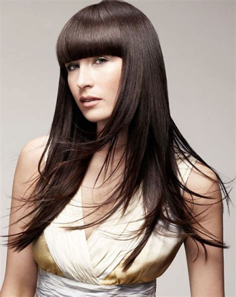 long straight hairstyle with blunt bangs the latest