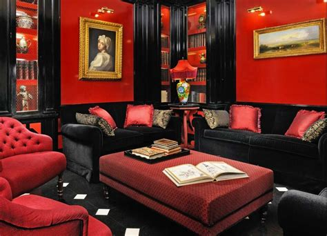 Red and black furniture for living room ideas