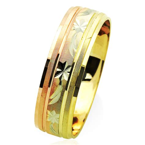 s 14k tri color gold 6mm dia cut wedding band plain ring gift box ebay