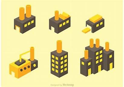 Factory Isometric Industrial Icons Buildings Isometrische Kleine