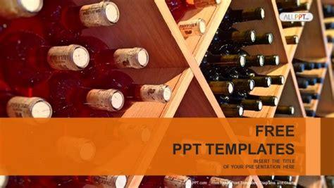 wine bottles stacked  wooden racks powerpoint templates