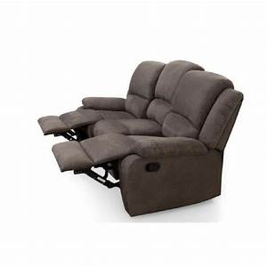 relax canape de relaxation droit 3 places tissu taupe With canapé relax 3 places tissu