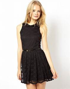 asos asos skater dress in lace with peter pan collar With robe chemisier chic