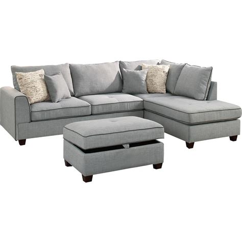 Light Gray Sectional Sofa by Venetian Worldwide Siena 3 Sectional Sofa In Light