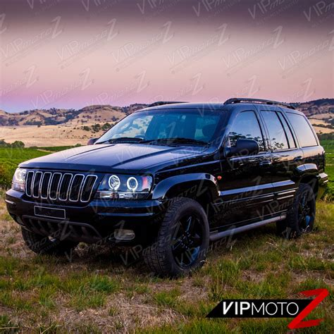 jeep headlights halo 1999 2004 jeep grand cherokee wj wg black led halo angel