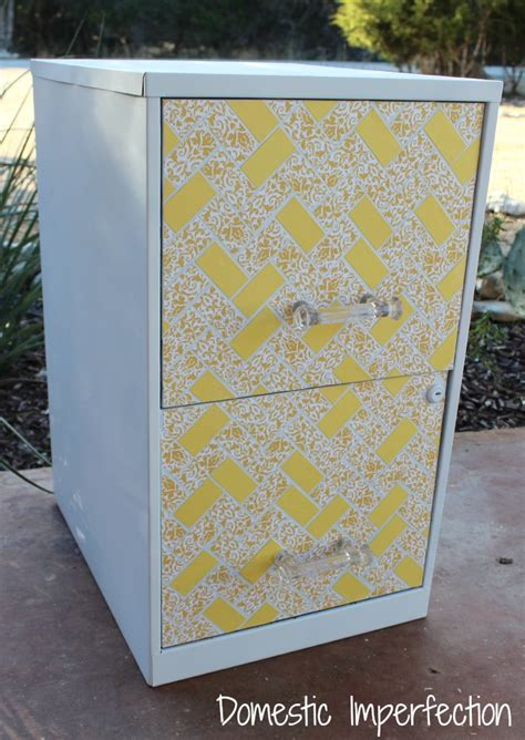 how to dress up a metal file cabinet 5 file cabinet makeover domestic imperfection