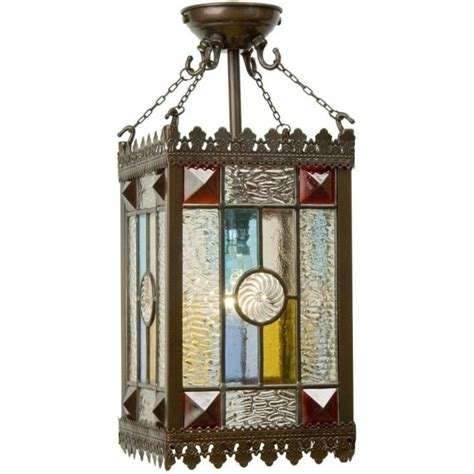 victorian gothic style entrance hall lantern  stained