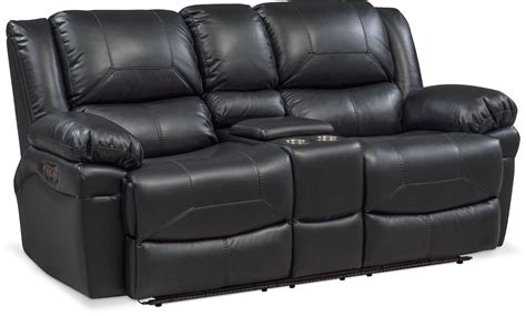 Reclining Loveseat by Monza Dual Power Reclining Loveseat With Console Black