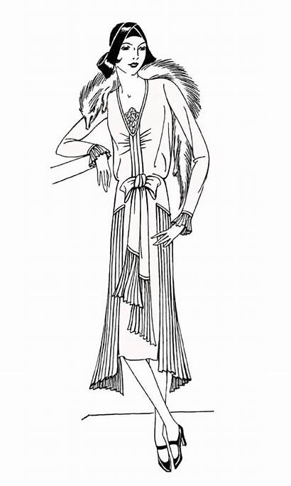 Coloring 1930 Clothing Pages Adult Lady Stamps