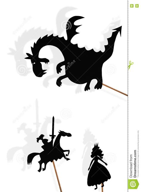 shadow puppets  dragon princess  knight  white