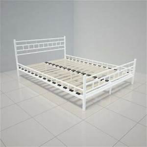Lit Metal Blanc : lit en m tal noir ou blanc 3 tailles cielterre commerce ~ Teatrodelosmanantiales.com Idées de Décoration
