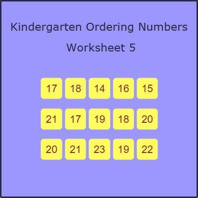kindergarten ordering numbers worksheet