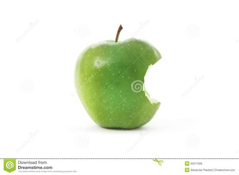 Green Apple with bite stock photo. Image of natural ...