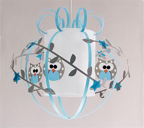 lustre de chambre pas cher plafonnier enfant hiboux gris bleu fabrique casse noisette