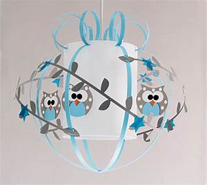 Luminaire Chambre Garçon : plafonnier enfant hiboux gris bleu fabrique casse noisette ~ Teatrodelosmanantiales.com Idées de Décoration