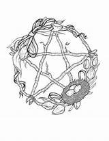 Pentagram Wheel Coloring Wreath Prints Sabbat Drawing Yule источник sketch template