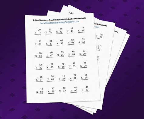 digit numbers printable multiplication worksheets