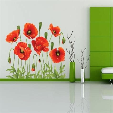 big discount red poppy removable wall decals home decor