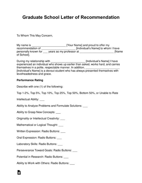 graduate school letter  recommendation template