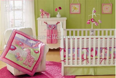 giraffe crib bedding new pink giraffe flowers embroidered baby cot crib