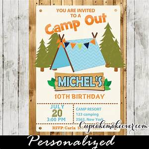 Boys Camping Party Invitation, Barn Wood - Personalized