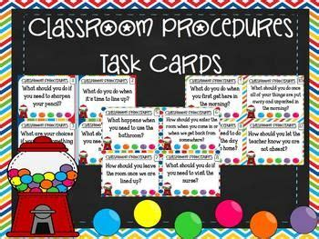 Classroom Procedures Task Cards for Classroom Management ...